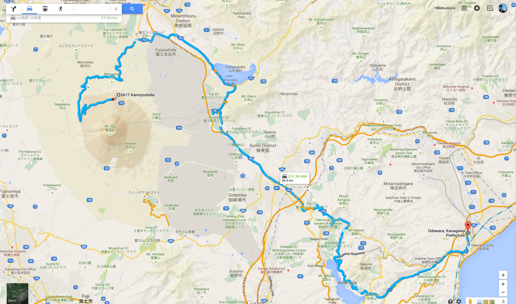 5617_Kamiyoshida__Fujiyoshida-shi__Yamanashi-ken_403-0005_to_神奈川県小田原市_-_Google_Maps