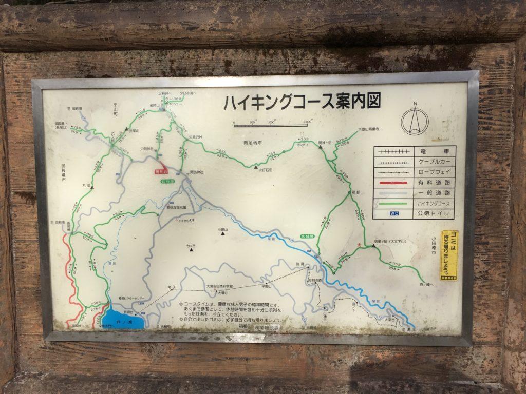 金時神社にあるハイキングコース案内図